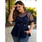 Plus Size Embroidery Zip Design Mesh Short Sleeve Blouse