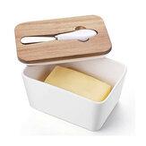 طبق زبدة سيراميك أبيض مع حامل صندوق زبدة فرنسي غطاء خشبي معزول