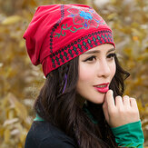 Women Ethnic Embroidery Cotton Adjustable Beanie Hat