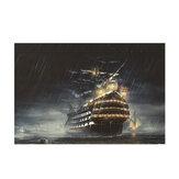 1 τεμάχιο καμβά εκτύπωσης ζωγραφική βροχερή νύχτα ιστιοπλοϊκό σκάφος διακοσμητική εικόνα τέχνης Κρέμασμα τοίχου χωρίς πλαίσιο Διακόσμηση