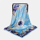 Женские цепочки из искусственного шелка 90 см в полоску Шаблон Элегантный многоцелевой согревающий широкий квадратный шарф-шаль