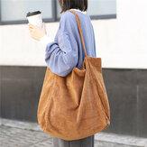 Women Corduroy Vintage Large-capacity Shopping Bag Shoulder Bag Handbag