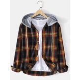 Mens Tartan Button Up Long Sleeve Relaxed Fit Drawstring Hooded Jacket