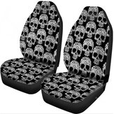 1/2Pcs Skull Print Front Car Truck Seat Cover Fabric Cases Protector Breathable