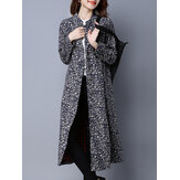 Folk Style Printing Plate Buckle Stand Collar Long Sleeve Coats