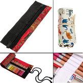 48Pcs Pencil Holes Portable Canvas Pencil Pen Roll Case Holder Bag Storage Pouch