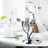 Bakeey 4'ü 1 arada Yanıp Söner Selfie Işıkları Canlı Yayın Makyaj Selfie Lamba 360 Derece Ortak Hortum Kararlı Destek Işık Standı