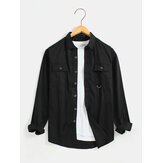 Mens Double Pocket Button Up Long Sleeve Cotton Black Shirts