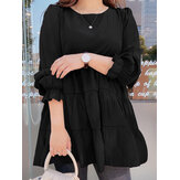 Women Solid Color Tiered Round Neck Puff Sleeve Casual Blouses