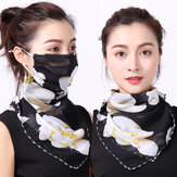 Outdoor Cycling Windproof Women Multifunction Silk Scarves Face Mask Dust-proof Breathable Sunshade Neck Protector Scarf Reusable Mouth Mask