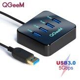 Adaptateur de station d'accueil de hub USB QGeeM avec transmission de données 4 * USB 3.0 5 Gbps pour ordinateur portable