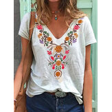 Women Vintage Print V-Neck Short Sleeve White T-Shirts