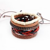 Unisex Adjustable Leather Wax Rope Multilayer Bead Bracelet