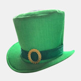 St. Patrick's Day Leprechaun Green Satin Top Hat
