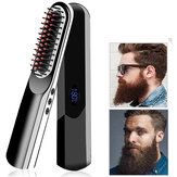 Multi-funcional Straight Cabelo Pente Cordless USB Charging Cabelo Straightening Escova LCD Wireless Men Beard Straightener Cabelo Pente Estilo