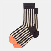 Couple Striped Socks Men And Women In The Tube Vertical Strips Hit The Color Design Sense Street Popular