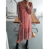 Plus Size Women Ditsy Floral Print Round Neck Casual Long Sleeve Midi Dresses
