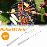 5PCS Telescoping Roasting Sticks Barbecue Spit Forks Sausage BBQ Barbecue Tool