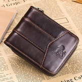 Vintage RFID Antimagnetic Genuine Leather 13 Card Slots Coin Bag Trifold Zipper Wallet For Men
