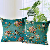 Honana 45x45cm Home Decoration Colorful Flowers and Birds 3D Printed Cotton Linen Pillowcases Sofa Cushion Cover