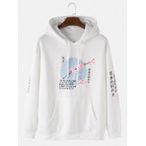 Banggood Design Heren Cherry Blossoms Tekstprint Japanse stijl Muff Pocket Drawstring Hoodies