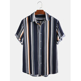 Mens New Fashion Dark Blue Striped Short Sleeved Shirts