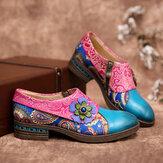 SOCOFY Retro Deri Paisley Ekleme Çiçek Kabartmalı Rahat Hakiki Deri Düz Ayakkabı