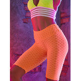 Women Solid Color Jacquard Sports Yoga High Waist Shorts
