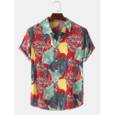 Mens Cotton Print Turn Down Collar Short Sleeve Shirts