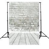 5x7ft Weiß Grau Ziegelmauer Boden Fotografie Hintergrund Kulisse Foto Studio