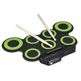 Green Electronic Drum Set Kit USB Power Audio Cable Portable Educational Pads