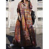 Women Ethnic Style Print Cotton Long Sleeve Button Vintage Swing Maxi Shirt Dress