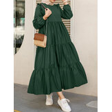 Women Solid Cotton Ruffles Hem Layered O-Neck Tiered Dress Casual Long Sleeve Maxi Dress