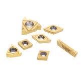 7-teilige Hartmetalleinsätze für 12-mm-Schaftdrehmaschinen-Bohrstangen-Drehwerkzeughalter CCMT060204 11IR 16ER Hartmetalleinsätze