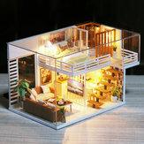 Fai da te casa delle bambole mobili casa delle bambole in miniatura copertura antipolvere casa delle bambole in legno luce casa per bambole giocattoli fatti a mano per i bambini