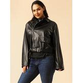 Giacche in pelle moto nera con cerniera cool moda donna taglie forti