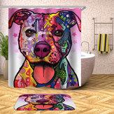 180x180cmCuartode baño Cortina de ducha Graffiti Perro Patrón Imprimir Impermeable Cortina de ducha de poliéster
