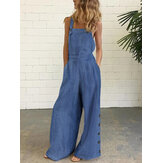 Frauen Denim Solid Color Button Lose Overalls Lässige Jumpsuits mit weitem Bein