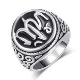 Vintage Unisex Ring Silver Plated Art Letters Carved Metal Ring Men Women Jewelry