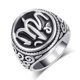 Винтаж унисекс кольцо посеребренные художественные буквы резное металлическое кольцо мужчины Женское ювелирные изделия