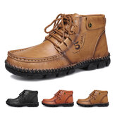 GRACOSY Leather Ankle Boots for Men, Mens Winter Boots with Fur Slip on Casual Shoes Comfort Breathable Driving Shoes