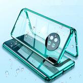 Huawei P30 Pro Kılıf için Bakeey 2 in 1 Manyetik Adsorpsiyon Flip Temperli Cam + Lens Protektör Metal Tam Kapak Protektif Kılıf