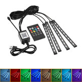 4Pcs 9LED RGB Car Interior Strip Lights Interior USB Charger Decor lampada