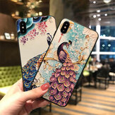 Fashion Chinoiserie Peafowl Pattern 3D Embossed TPU Protective Case for iPhone X / XS / XR / XS Max / 6 / 7 / 8 / 6S Plus / 6 Plus / 7 Plus / 8 Plus