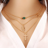 Cross and Leaf Pendant Clavicle Bohemian Multilayer Necklace