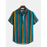Vertical Stripes Stand Collar Hawaii Casual Mens Short Sleeve Henley Shirts