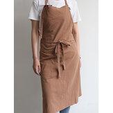 vendimia Delantales de cocina de algodón japonés Vestido con bolsillo