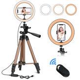 Kontrollerbar 6 tommer 10 tommer LED Selfie-ringelys + stativstativ + telefonholderfotografering YouTube-video Makeup Livestream med fjernlukke til iPhone Android Smart Phones