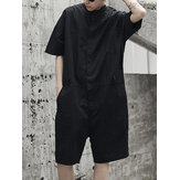 Herre Loose Overalls Button Up Casual Cargo Jumpsuit Streetwear Rompers Bukser