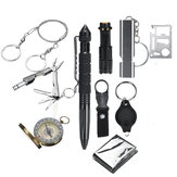 11 In 1 SOS Emergency Survival Kit EDC Tools Compass Fret Saw Flashlight Tactical Camping Hiking